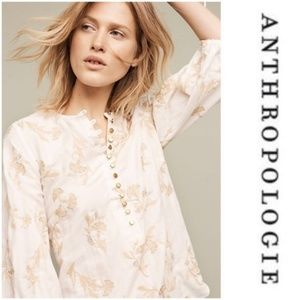 {anthro} Atley Peasant Embroidered Gauze Blouse 🌙